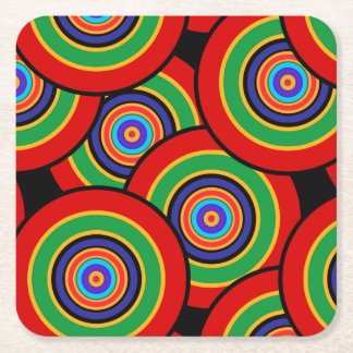 Circles and rings retro square paper coaster