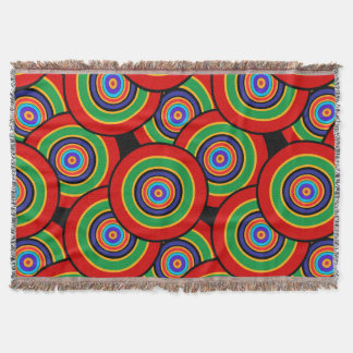 Circles and rings retro throw blanket