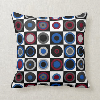 Circles and Squares (Red,Blue,White,Black+Gray) Throw Pillow