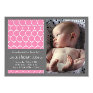Circles Background New Baby Announcements (Pink)