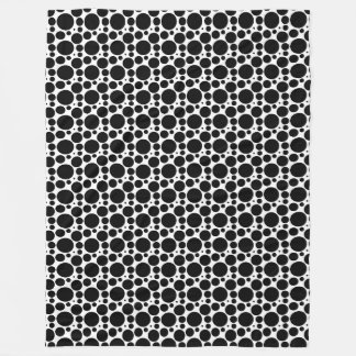 Circles & Dots in 7 Sizes: Repeating Black & White Fleece Blanket