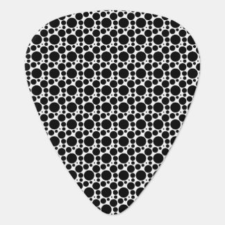 Circles & Dots in 7 Sizes: Repeating Black & White Guitar Pick