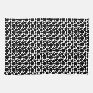 Circles & Dots in 7 Sizes: Repeating Black & White Kitchen Towel