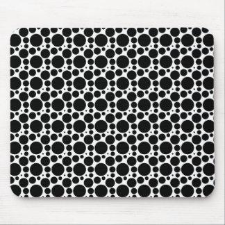 Circles & Dots in 7 Sizes: Repeating Black & White Mouse Pad