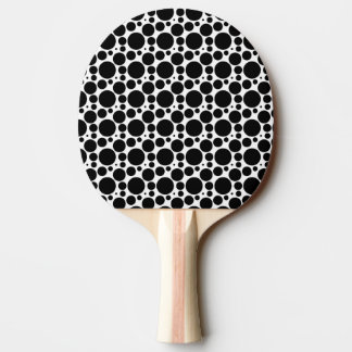 Circles & Dots in 7 Sizes: Repeating Black & White Ping Pong Paddle