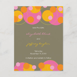 Circles + Dots Juicy Pink Save The Date Postcard