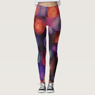 Circles Leggings Purple Orange Blue Yoga Wear
