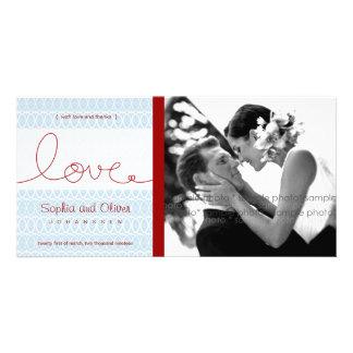Circles + Love Aqua Wedding Thank You Photo Card Custom Photo Card
