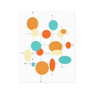 "Circles Midcentury Modern 11"" x 14"" Wrapped Canvas"