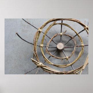 Circles of Vines & Wood Sculpture Closeup Poster