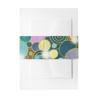 Circles & Spirals Teal Nature Inspired Wedding Invitation Belly Band