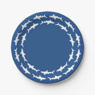 Circling White Sharks Beach Party Happy Hour Paper Plate
