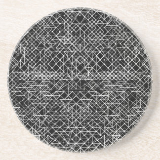 Circuit Black And White Drink Coaster