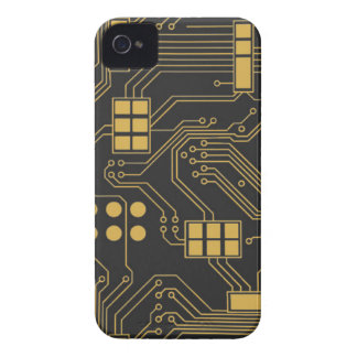 Circuit board - Black and Gold iPhone 4 Covers