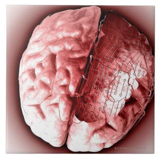 Circuit Board Brain Ceramic Tile