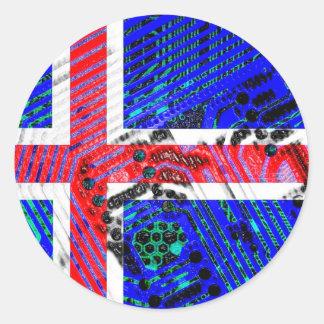 circuit board iceland (Flag) Round Sticker
