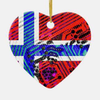 circuit board Norway (Flag) Ceramic Heart Ornament