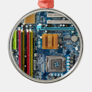 Circuit board Silver-Colored round ornament
