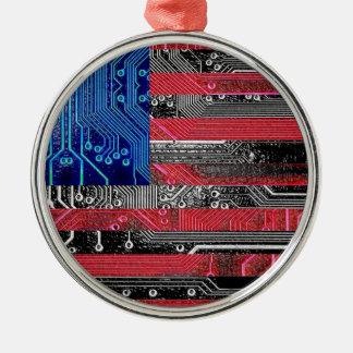 circuit board USA Silver-Colored Round Ornament