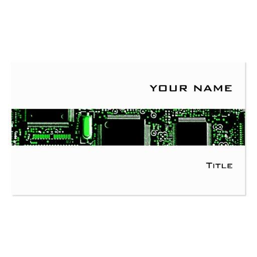 Circuit Green 2 stripe business card white