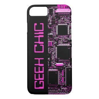 Circuit Pink 'Geek Chic' iPhone 7 case black