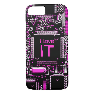 Circuit Pink 'I love IT' iPhone 7 case