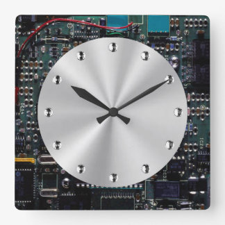 Circuitry Square Wall Clock