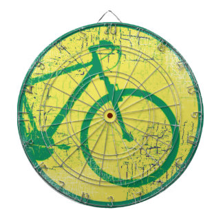 circular bicycle green dartboard with darts