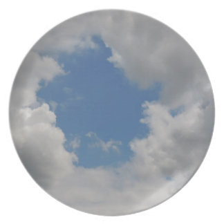 Circular blue hole in the clouds plates