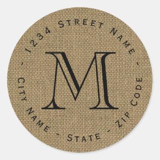 Circular Burlap Monogram Return Address Label