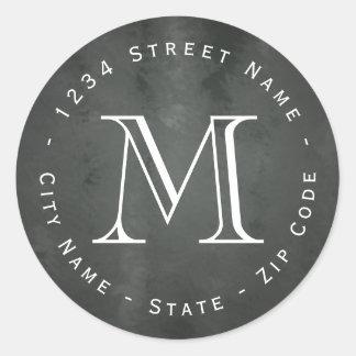 Circular Chalkboard Monogram Return Address Label
