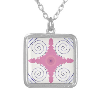 Circular Design Motif Template for Custom Text Silver Plated Necklace