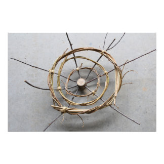 Circular Eco-Art Sculpture of Vines & Wood Center Photo Print