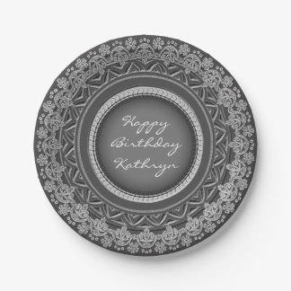 Circular Elegance Gray Paper Plate