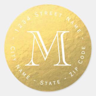 Circular Gold Foil Monogram Return Address Label
