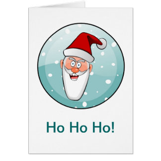 Circular Ho Ho Ho! Santa in Teal Card