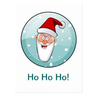 Circular Ho Ho Ho! Santa in Teal Postcard
