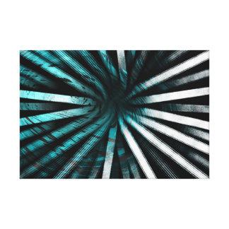 Circular Lines Aqua - Canvas Print