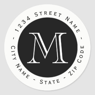 Circular Monogram Return Address Label