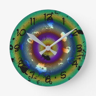 Circular Multicolored Abstract Pattern Round Clock