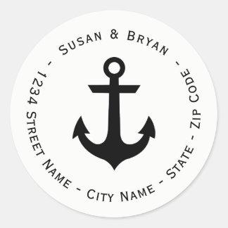Circular Nautical Anchor Return Address Label