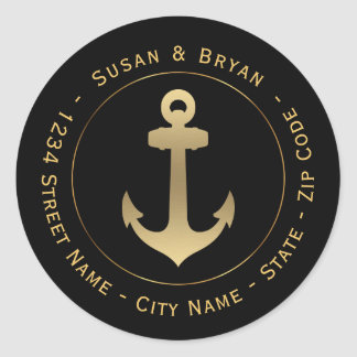 Circular Nautical Gold Anchor Return Address Label