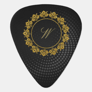Circular Pattern Monogram on Black Circular Guitar Pick