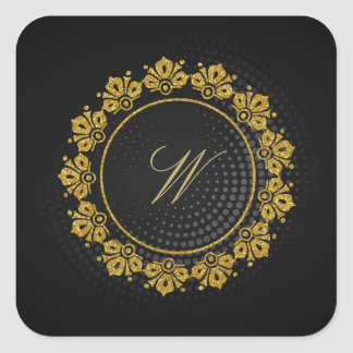 Circular Pattern Monogram on Black Circular Square Sticker