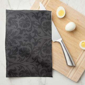Circular Pattern Monogram on Black Damask Kitchen Towel