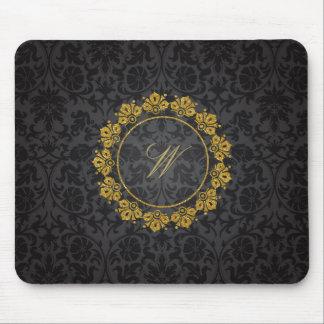 Circular Pattern Monogram on Black Damask Mouse Pad