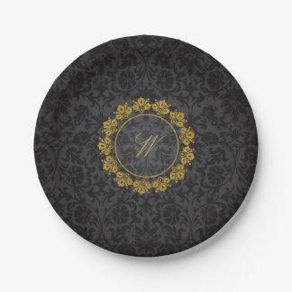 Circular Pattern Monogram on Black Damask Paper Plate
