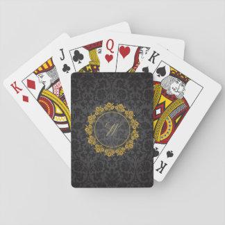 Circular Pattern Monogram on Black Damask Playing Cards