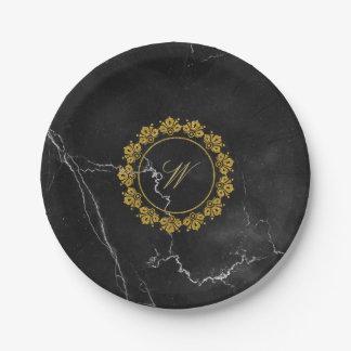 Circular Pattern Monogram on Black Marble Paper Plate
