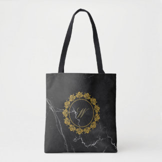 Circular Pattern Monogram on Black Marble Tote Bag